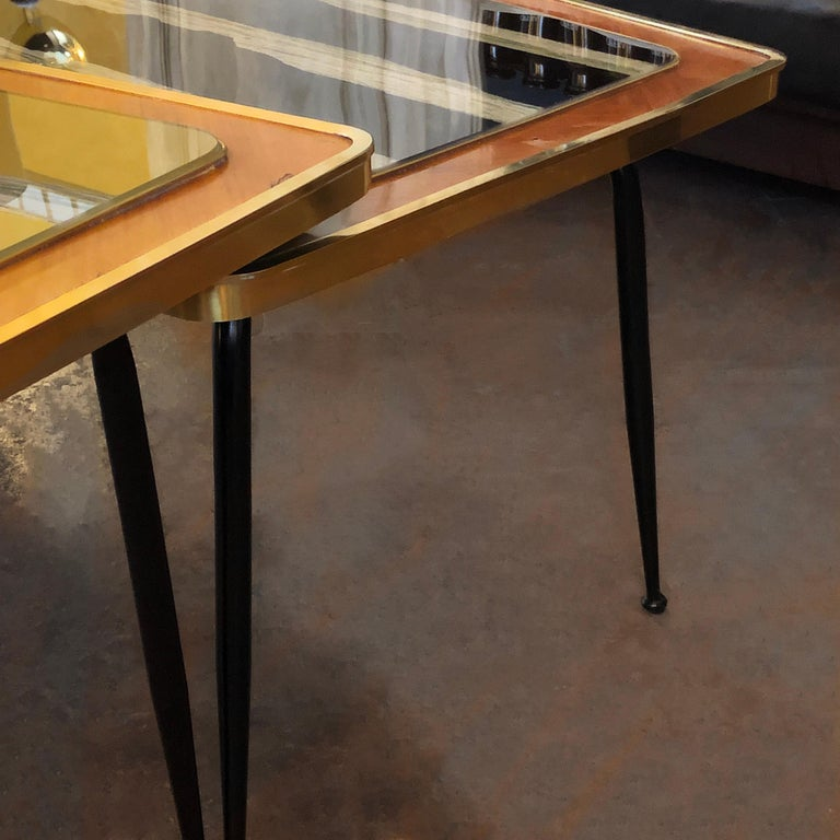 Vintage Pair of Wood, Brass and Black & Gold Striped Murano Glass Coffee Tables For Sale 1