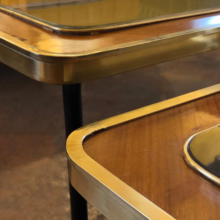 Vintage Pair of Wood, Brass and Black & Gold Striped Murano Glass Coffee Tables For Sale 3