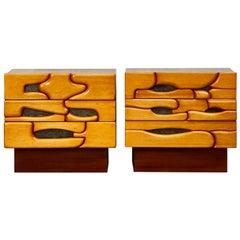 Vintage Pair of Wooden Bedside Tables