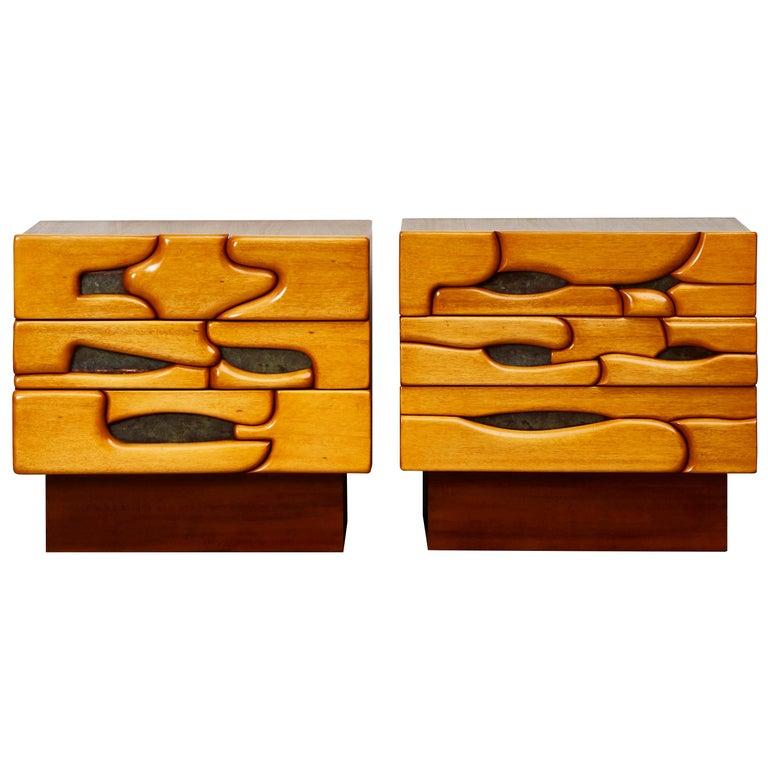 Vintage Pair of Wooden Bedside Tables For Sale