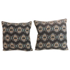 Vintage Pair of Woven Black and Orange Ikat Decorative Square Pillows