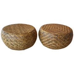Vintage Pair of Woven Wicker Round Footstools Stools Benches Ottomans