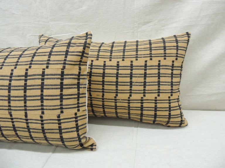 Nigerian Vintage Pair of Yellow and Dark Blue African Stripweaves Decorative Pillows For Sale