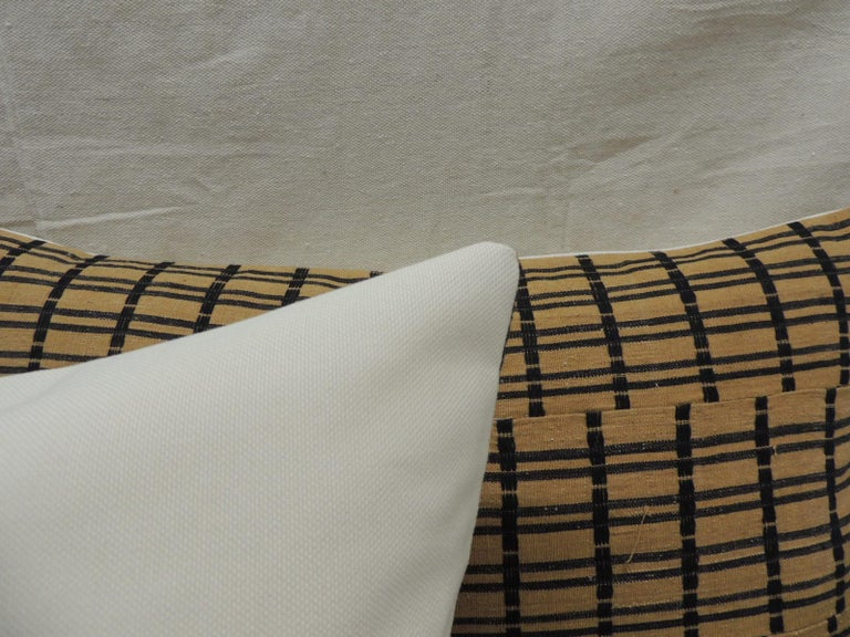 Mid-20th Century Vintage Pair of Yellow and Dark Blue African Stripweaves Decorative Pillows For Sale