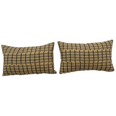 Vintage Pair of Yellow and Dark Blue African Stripweaves Decorative Pillows