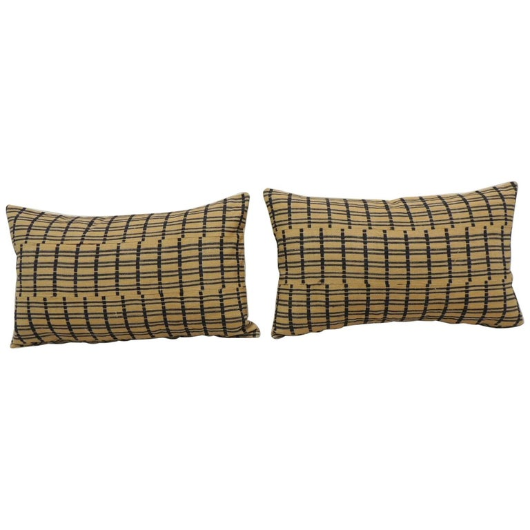 Vintage Pair of Yellow and Dark Blue African Stripweaves Decorative Pillows For Sale