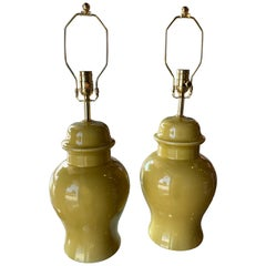 Vintage Pair of Yellow Ceramic Ginger Jar Table Lamps Brass Rewired