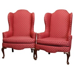 Vintage Pair of Queen Anne Style Mahogany Fireside Wingback Armchairs