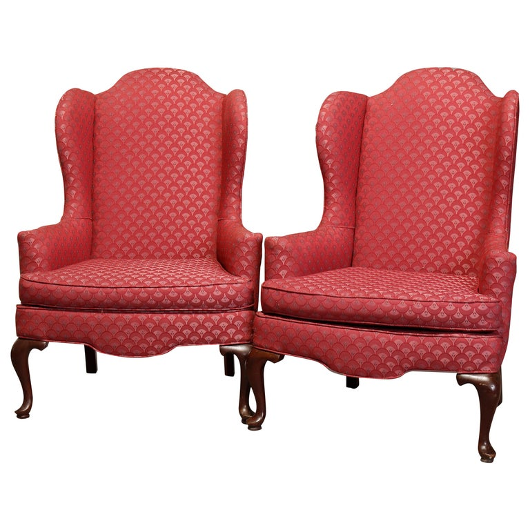 Vintage Pair of Queen Anne Style Mahogany Fireside Wingback Armchairs For Sale