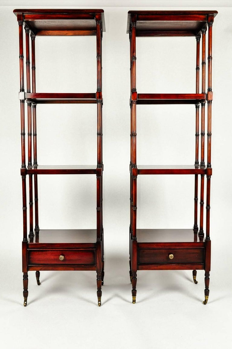 European Vintage Pair Solid Mahogany Wood Display Etageres / Shelves . For Sale