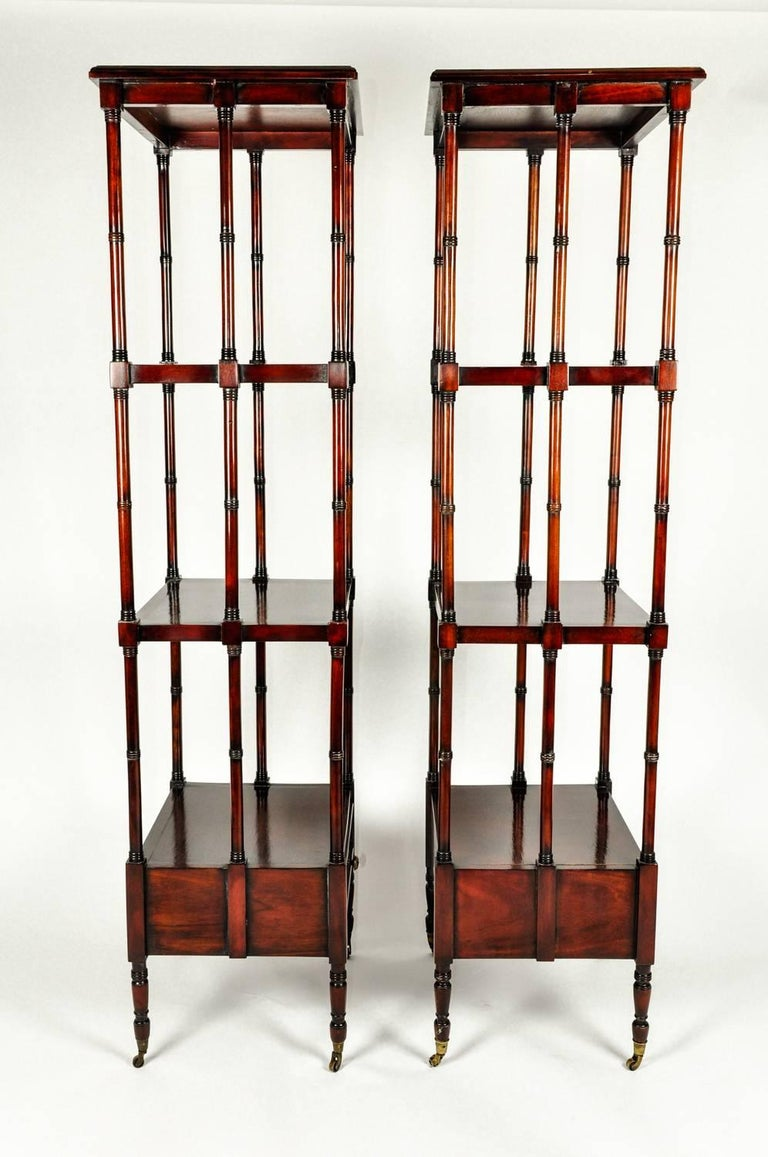 Vintage Pair Solid Mahogany Wood Display Etageres / Shelves . For Sale 1