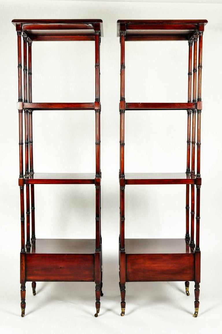 Vintage Pair Solid Mahogany Wood Display Etageres / Shelves . For Sale 2