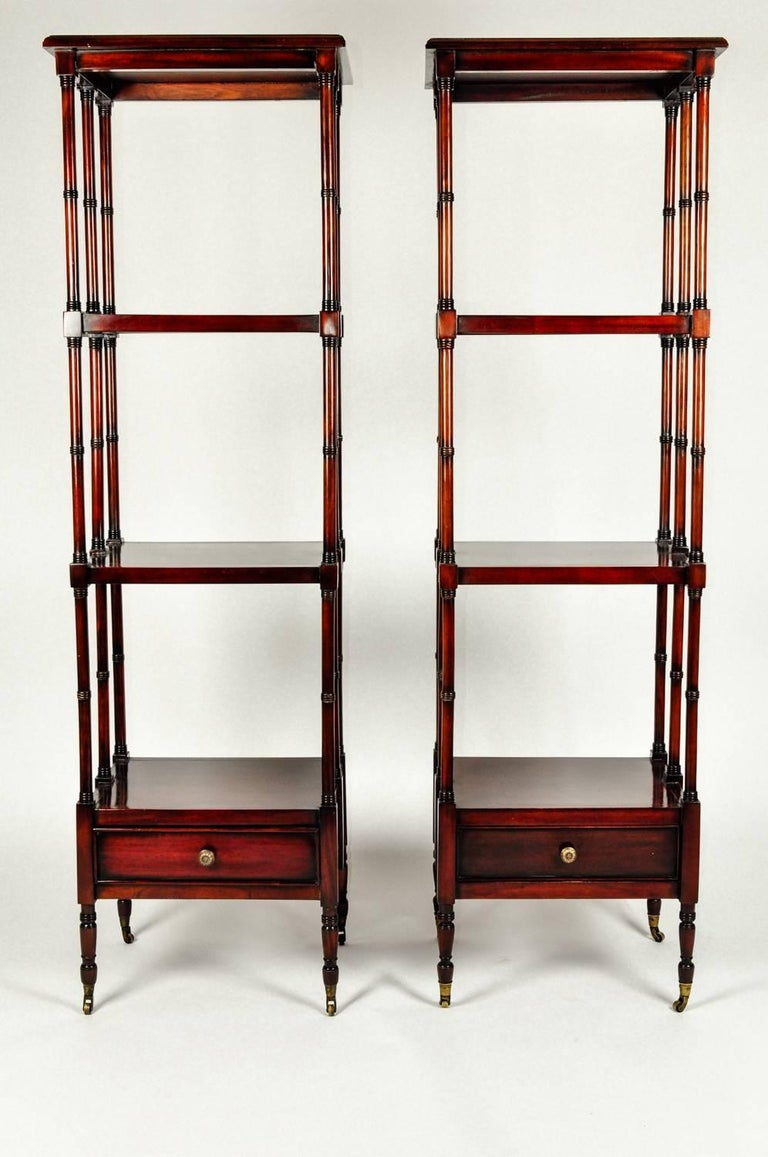 Vintage Pair Solid Mahogany Wood Display Etageres / Shelves . For Sale 4
