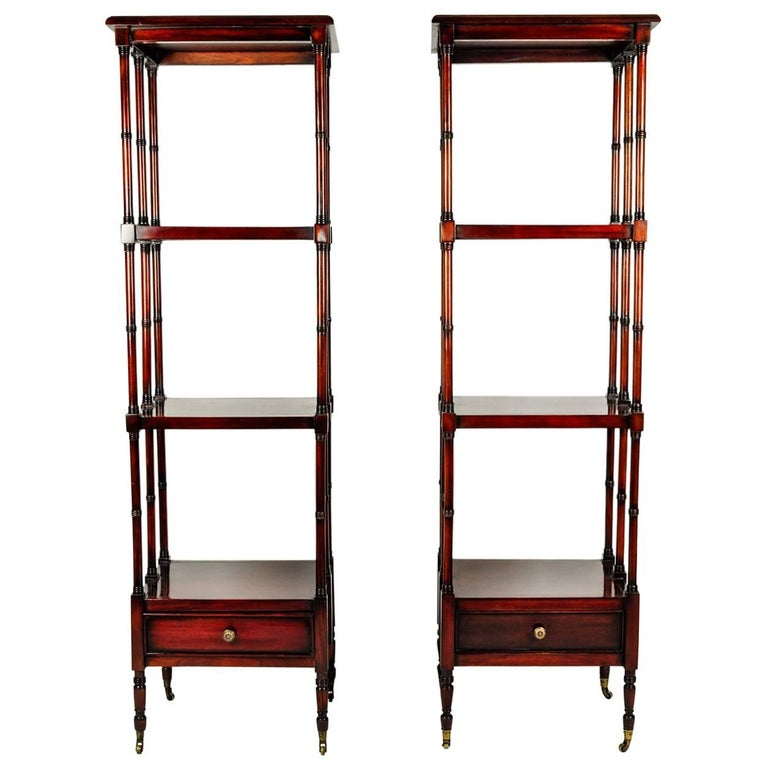 Vintage Pair Solid Mahogany Wood Display Etageres / Shelves . For Sale