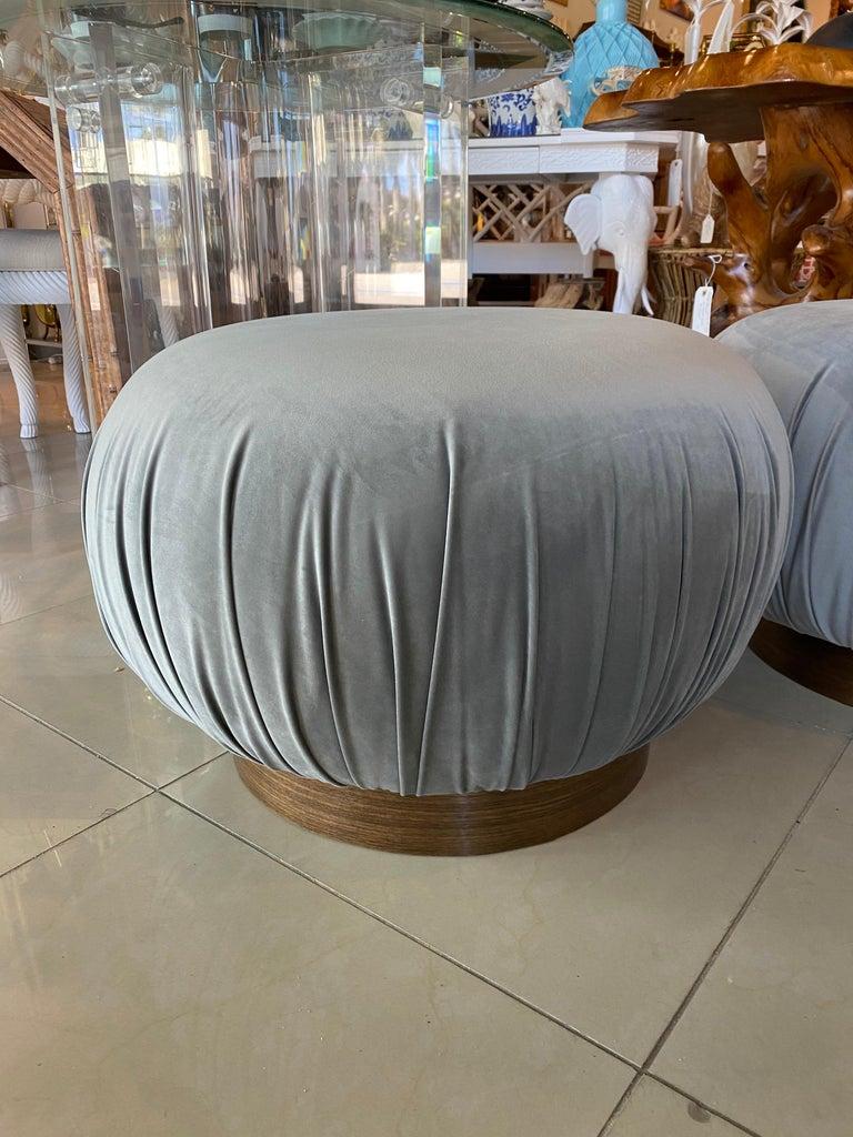 Pair of Swivel Pouffe Poufs Ottomans Benches Stools Grey Velvet Walnut Base For Sale 4