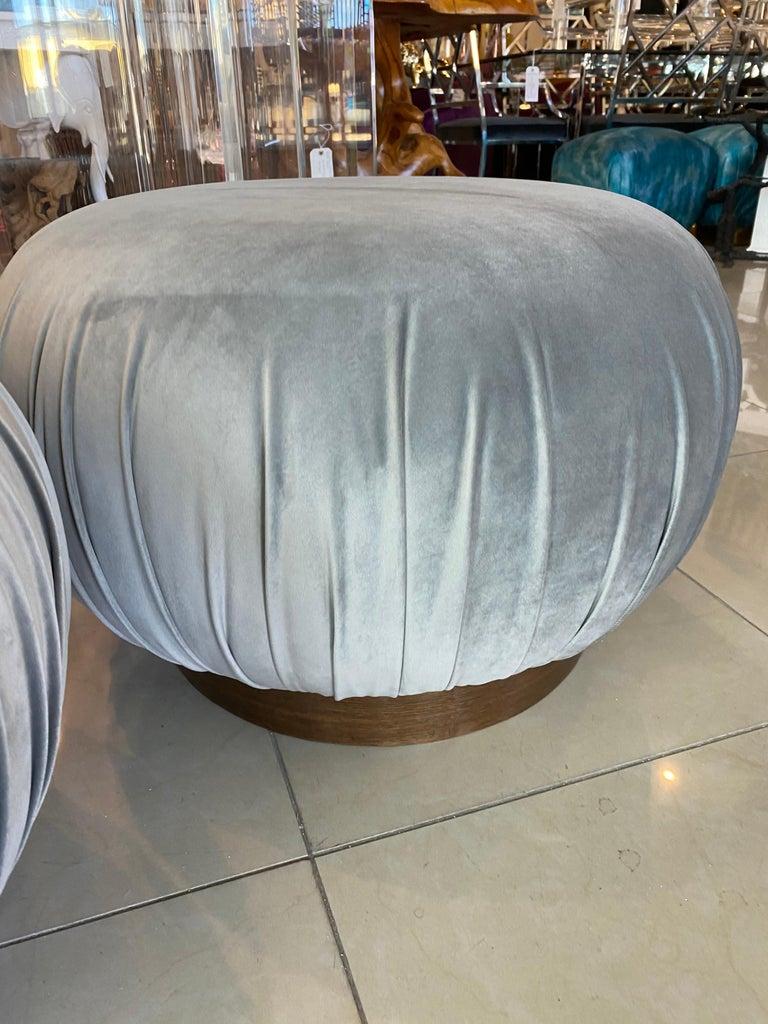American Pair of Swivel Pouffe Poufs Ottomans Benches Stools Grey Velvet Walnut Base For Sale