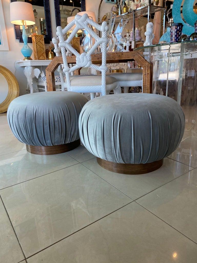 Pair of Swivel Pouffe Poufs Ottomans Benches Stools Grey Velvet Walnut Base For Sale 1