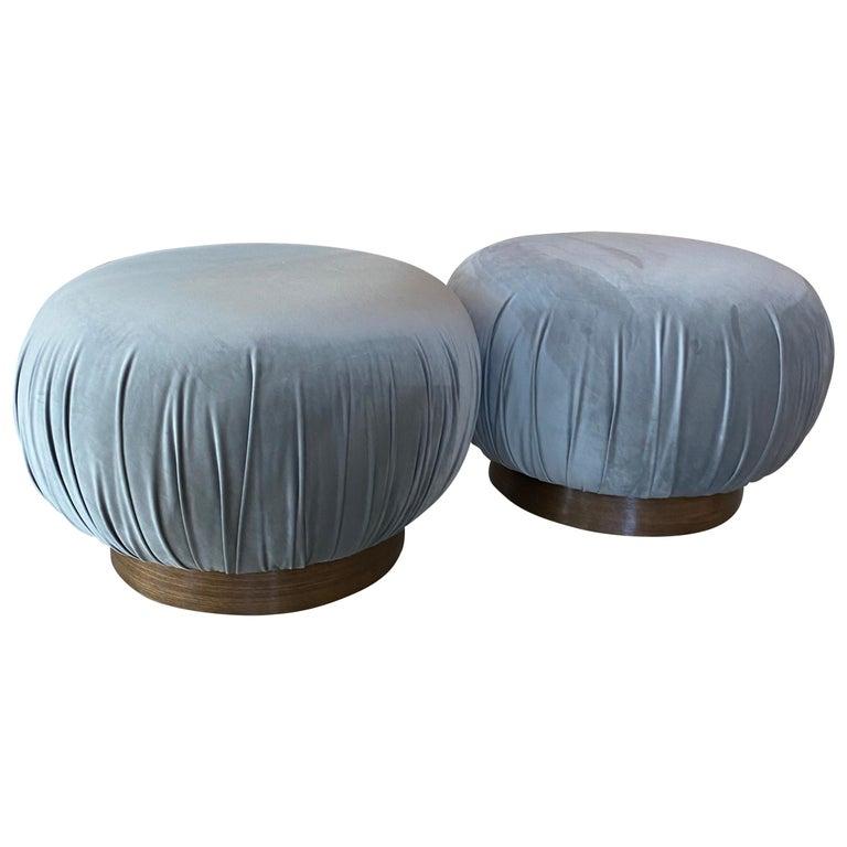 Pair of Swivel Pouffe Poufs Ottomans Benches Stools Grey Velvet Walnut Base For Sale