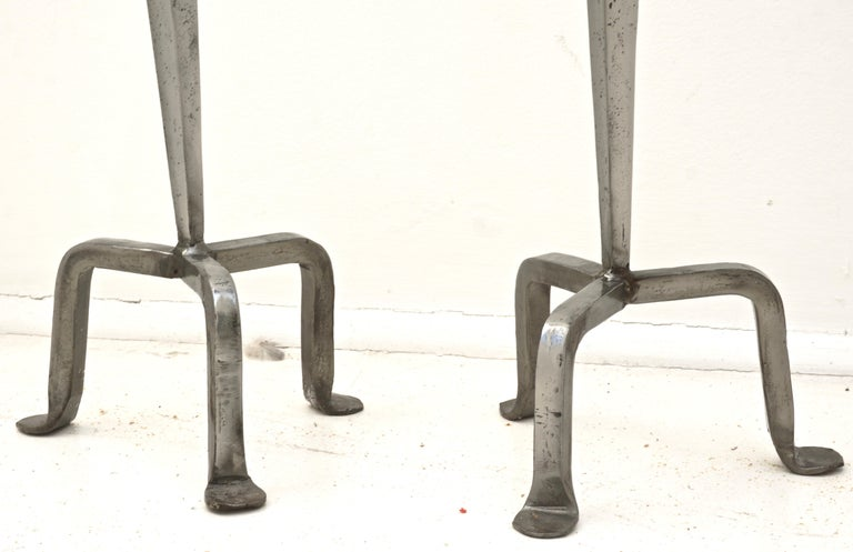 Women's or Men's Vintage Pair Arts and Crafts Style Tall Silver Tone Candlesticks For Sale
