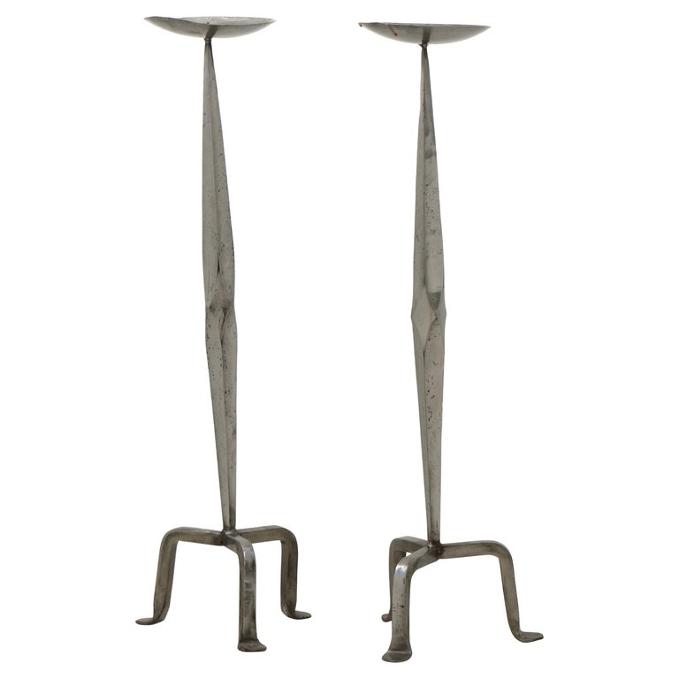 Vintage Pair Arts and Crafts Style Tall Silver Tone Candlesticks For Sale