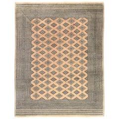 Vintage Pakistani Jaldar Design Bokhara Rug with Southwest Desert Boho Style