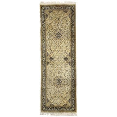 Vintage Pakistani Persian Isfahan Style Runner, Floral Hallway Runner