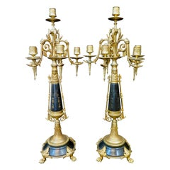 "Vintage ""Palace Size"" Bronze and Black Marble Candelabra"