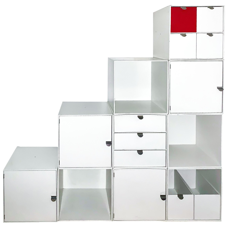 Vintage Palaset Palanox Modular Storage Box Set of 10, White, Red, Finland, 1972