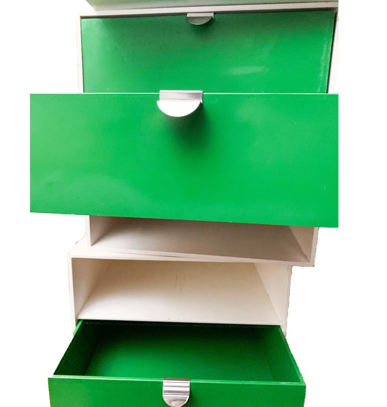 Finnish Vintage Palaset Palanox Modular Storage Box Set of 4, Green White, Finland, 1972 For Sale