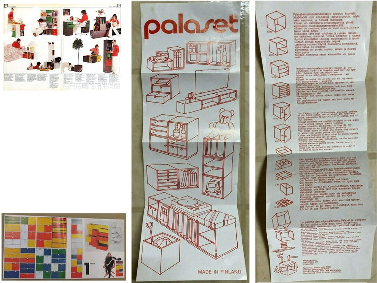 Vintage Palaset Palanox Modular Storage Box Set of 4, Green White, Finland, 1972 In Fair Condition For Sale In Brooklyn, NY