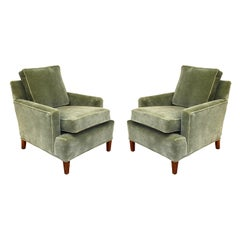 Vintage Pale Green Mohair Tuxedo Club Chairs by Henredon
