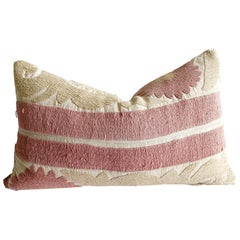 Vintage Pale Pink and Tan Embroidered Suzani Accent Pillow