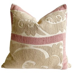 Vintage Pale Pink and Tan Embroidered Suzani Accent Pillow with Down Insert