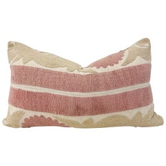 Vintage Pale Pink and Tan Embroidered Suzani Pillow with Down Feather Insert