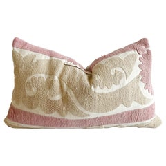 Vintage Pale Pink and Tan Embroidered Suzani Pillow with Down Insert
