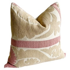 Vintage Pale Pink and Tan Suzani Embroidered Accent Pillow with Down Insert