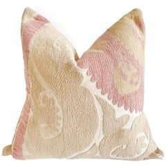 Vintage Pale Pink and Tan Suzani Pillow with Down Feather Insert
