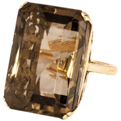 Vintage Pale Smokey Quartz and 9 Carat Gold Cocktail Ring