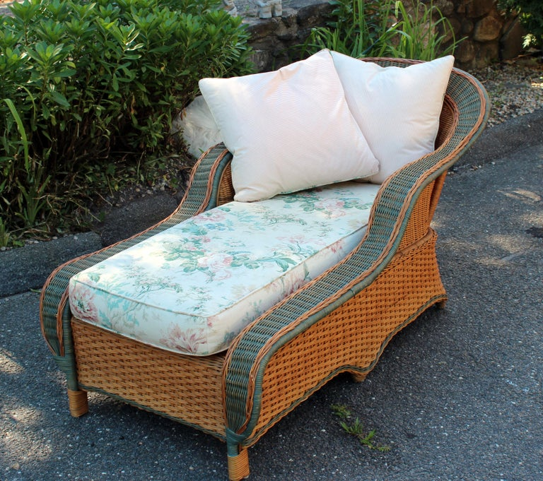 Vintage Palecek Bamboo Rattan Wicker Porch Patio Room Chaise Lounge