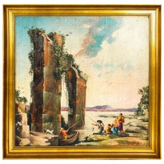 Vintage Palladian Oil Painting Classical Roman Ruins, 20th Century