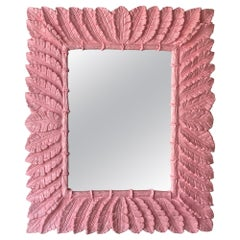 Vintage Palm Beach Coral Pink Lacquered Palm Leaf Large Wall Mirror