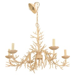 Vintage Palm Beach Metal Coral Chandelier 5-Light