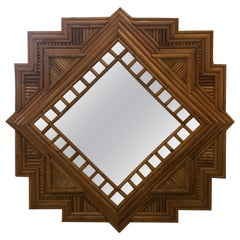 Vintage Palm Beach Pencil Reed Bamboo Wall Mirror