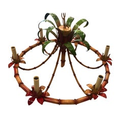 Vintage Palm Beach Tropical Italian Metal Tole Faux Bamboo Chandelier 6 Lights