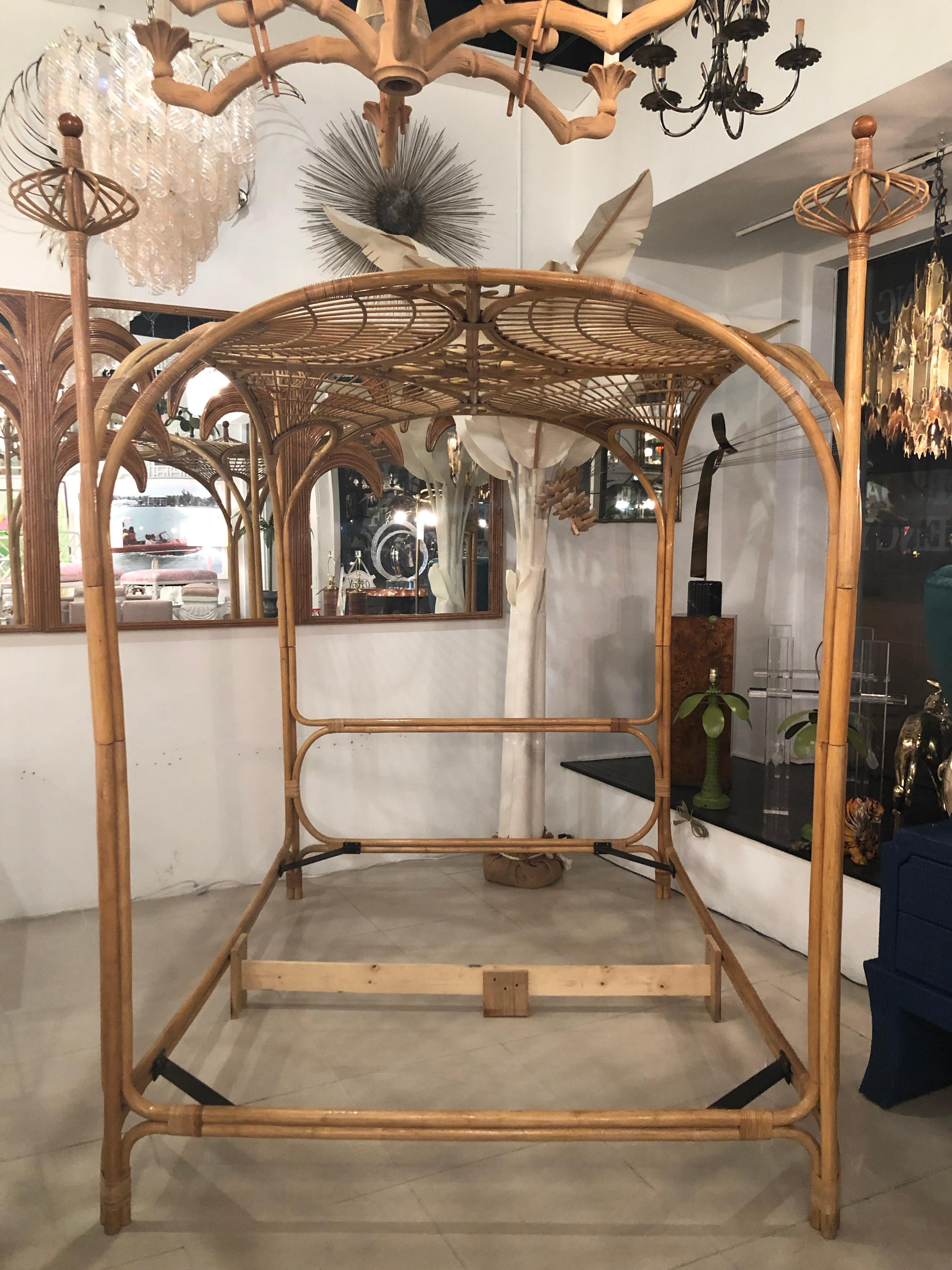 - Vintage Palm Beach Tropical Rattan Bamboo Queen Size Canopy Bed At