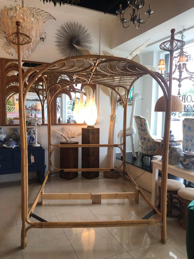 Vintage Palm Beach Tropical Rattan Bamboo Queen Size