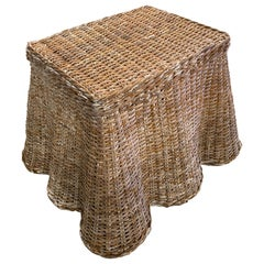 Vintage Palm Beach Trompe l'Oeil Wicker Draped Coffee Cocktail Side End Table