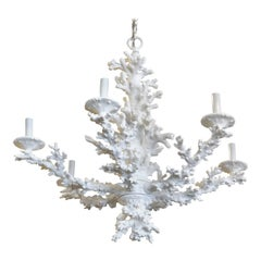 Vintage Palm Beach Tropical White Faux Coral 6-Light Chandelier