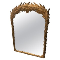 Vintage Palm Frond Wall Mirror Leaf Serge Roche Style Tropical Palm Beach