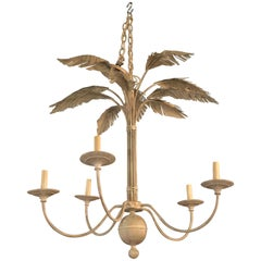 Vintage Palm Tree Frond Leaf Leaves Metal Tole Chandelier